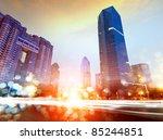 the light trails on the modern... | Shutterstock . vector #85244851