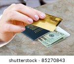 female hand with credit card...