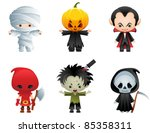 halloween characters icon set   ... | Shutterstock . vector #85358311