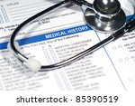 close up of a medical history... | Shutterstock . vector #85390519