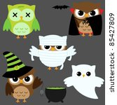 Set Of Cute Vector Owls In...