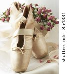 Ballet-Toe shoes with baby roses - stock photo
