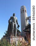 columbus statue and coit tower | Shutterstock . vector #85466080