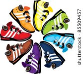 Trainers Arranged In A Rainbow...