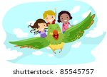 illustration of kids riding a... | Shutterstock .eps vector #85545757