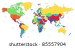 detailed world map of rainbow... | Shutterstock . vector #85557904