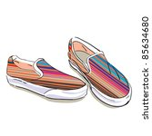 striped summer fabric shoes on... | Shutterstock .eps vector #85634680
