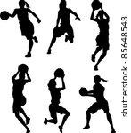 basketball female silhouettes | Shutterstock .eps vector #85648543