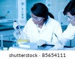 scientist dropping liquid in... | Shutterstock . vector #85654111