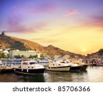 yachts and boats in marina of... | Shutterstock . vector #85706366