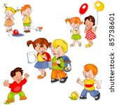 set of colored painted children.... | Shutterstock .eps vector #85738601