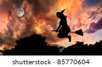 Halloween Witch Silhouette Wit...