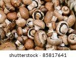 Close Up Of Mushrooms On Marke...