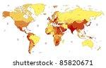 detailed world map of yellow ... | Shutterstock . vector #85820671