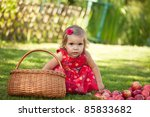 little girl collects the apples ... | Shutterstock . vector #85833682