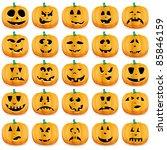 Stock vector big set of halloween pumpkins with jack o lantern face vector illustration 85846159