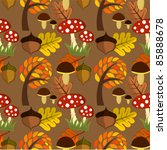 autumnal forest life seamless... | Shutterstock .eps vector #85888678