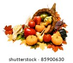 Thanksgiving or harvest cornucopia over a white background - stock photo