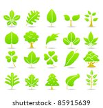 hand drawn leaf  tree eco icons | Shutterstock .eps vector #85915639