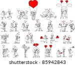 cartoon wedding pictures | Shutterstock .eps vector #85942843