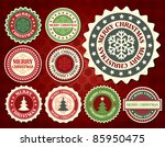 Christmas label with snowflake shape - stock vector