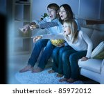 family watching tv .true... | Shutterstock . vector #85972012