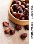 Chestnuts In Wooden Plate On...