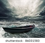 Abandoned Boat In Stormy Sea