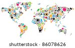 world map made of internet and... | Shutterstock . vector #86078626