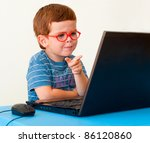 child with glasses pointing on... | Shutterstock . vector #86120860