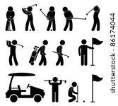 golf golfer swing people caddy... | Shutterstock .eps vector #86174044