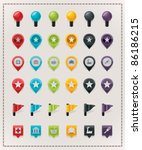 Vector map markers set - stock vector