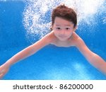 A Kid Is Swimming Underwater I...