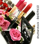roses and decorative cosmetics | Shutterstock . vector #86409610