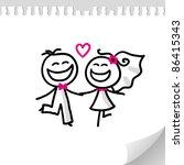 cartoon wedding couple on... | Shutterstock . vector #86415343