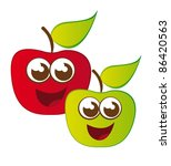 cute apple cartoons isolated... | Shutterstock .eps vector #86420563
