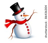 happy snowman greeting with an... | Shutterstock .eps vector #86436304