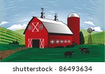 agriculture,angus,barn,cattle,clouds,country,cows,farm,field,hills,landscape,pasture,red,scene,silo