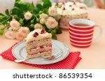 cake with strawberries  cream ...   Shutterstock . vector #86539354