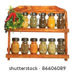 Old Wooden shelf with different seasonings in glass bottles. Image over pure white background - stock photo