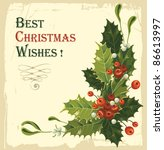 vintage christmas card with... | Shutterstock .eps vector #86613997