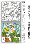 christmas coloring page, snowman and christmas tree - stock vector