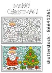 christmas coloring page for kids, Santa Claus and christmas tree - stock vector