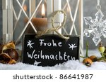 candle lantern in snow with... | Shutterstock . vector #86641987