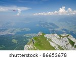 View from Mount Pilatus over Lake of Lucerne - stock photo