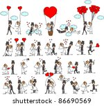 set of wedding pictures  bride... | Shutterstock .eps vector #86690569