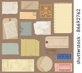 set of old paper objects   for... | Shutterstock .eps vector #86692762