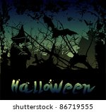 halloween background with witch ... | Shutterstock .eps vector #86719555