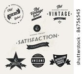Vector Vintage Styled Premium Quality and Satisfaction Guarantee Label  collection with black grungy design. - stock vector