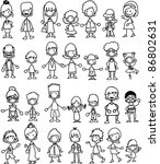 doodle members of large families | Shutterstock .eps vector #86802631